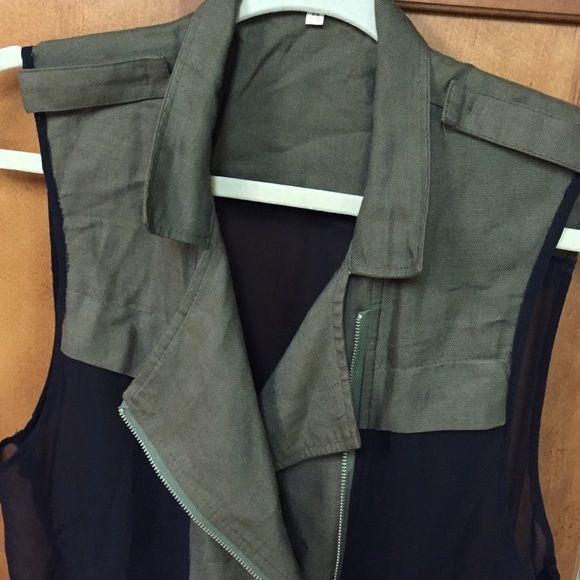Flash SaleKorean Top Sheer black and khaki linen top which can be worn in several ways.  If you've ever seen Korean dramas,  they always have very chic and modern styling. Tops Blouses