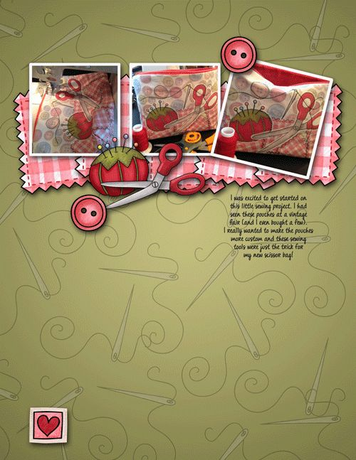 Sewing scrapbook layout created with digital scrapbooking kits from Kate Hadfield Designs - fun ideas for scrapbooking your creative hobbies from the Creative Team!