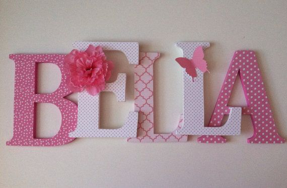 *PRICE IN LISTING IS PER 6 INCH LETTER Spell out your childs name with these adorable pink and white themed letters. These letters will look great