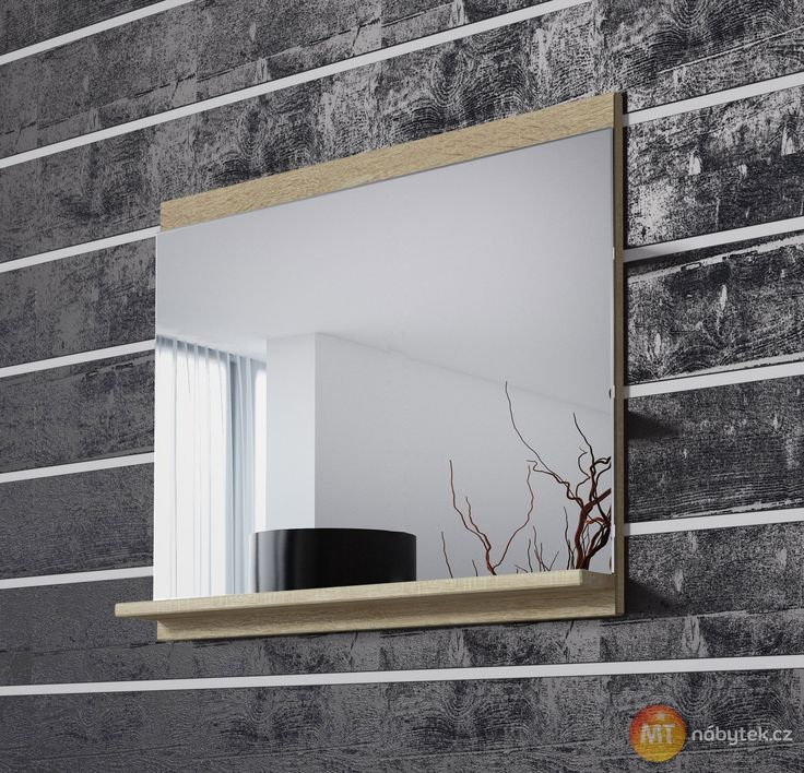 Zrcadlo s policí Horace 1, závěsné, bílá, dub sonoma
