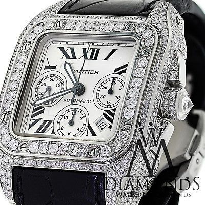 DIAMOND CARTIER SANTOS 100 XL CHRONOGRAPH 17CT NATURAL DIAMONDS WATCH Click to find out more -  http://menswomenswatches.com/diamond-cartier-santos-100-xl-chronograph-17ct-natural-diamonds-watch/