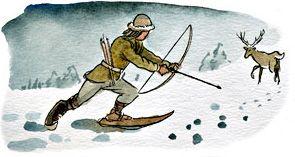 Det var mestadels under vintern som det fanns tid att roa sig.  Man tillverkade skridskor av djurben och snörade dessa under skorna. Skidor gjordes av tunna, korta träbitar och plockades fram vid jakt.  Man fällde de flesta villebråd med pil och båge. Vildsvin jagades med långa spjut, och var särskilt farliga byten. Under vinterhalvåret övade sig de flesta männen i bågskytte. Det fanns de som övade 2-6 timmar per dag.