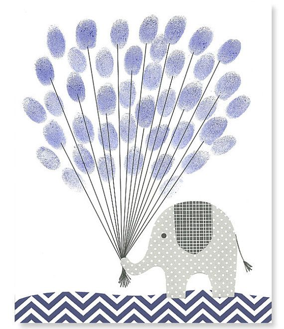 Fingerprint Baby Shower Alternative Guest Book Elephant with Balloons Thumbprint Guest Book Gray Navy 8 x 10 or 11 x 14 on Etsy, $15.00