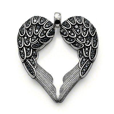 Черный ангел инкрустированные черный кристалл в форме сердца большие крылья шарм подвески и ожерелье для женщин бесплатная доставка TS-PA070