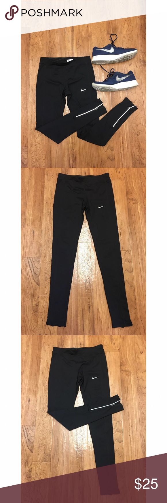 Nike running pants size small Size small black Nike running pants with zippers at the ankles. No flaws. Back pocket above butt. Extremely comfortable! Worn only a couple times. Has a Drawstring as well! Nike Pants Leggings