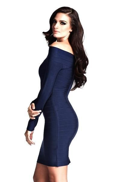 bb0e59a9a074 Blue Long Sleeve Off Shoulder Bandage Dress