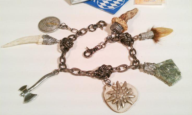 Schönes #Unikat – #handmade #Charivari #Kette #Trachtenschmuck #Massiv mit Kara… – Marion Kobler