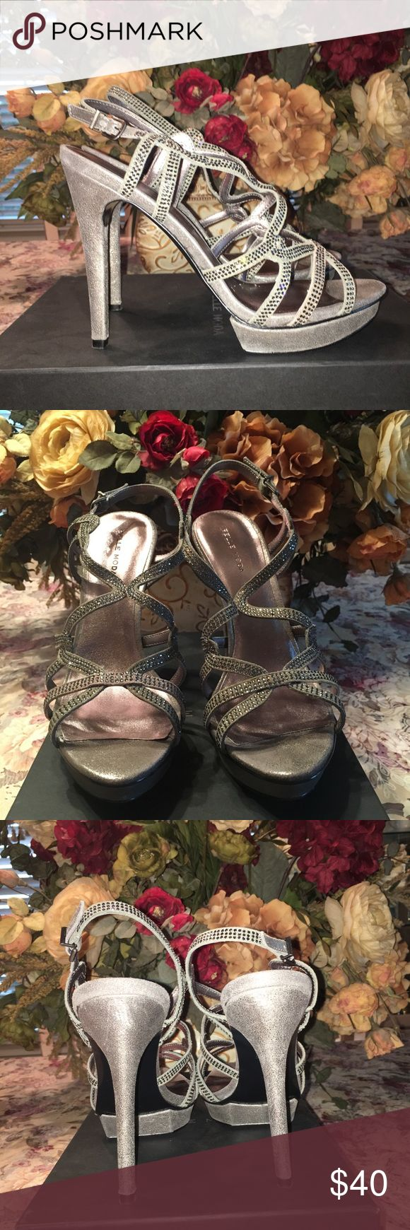 Platform Special Occasion Sandal Sparkly dress Platform Pumps. Pewter color is the new neutral. Perfect for wedding season. Comes with box. Worn once Pelle Moda Shoes Heels