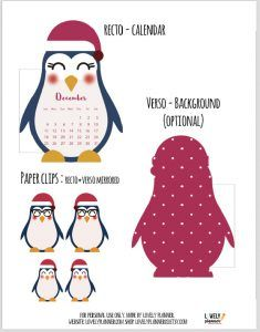 Free printable monthly calendar divider + matching DIY paperclips for your planner : cute penguin planner inserts. More planner freebies on lovelyplanner.com
