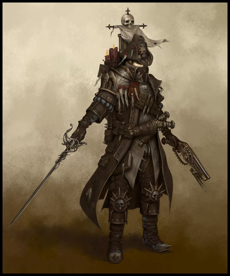 Warhammer Empire Witch Hunter: Gear: Rapier; hand-cannon; brace of pistols.