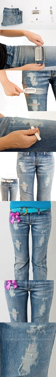 "DIY Torn Jeans - now I can buy the cheap jeans at the thrift shop & make them look like the more expensive ""distressed"" styles!"
