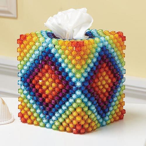 Boutique Rainbow Tissue Box Cover Bubble Bead Kit - Herrschners