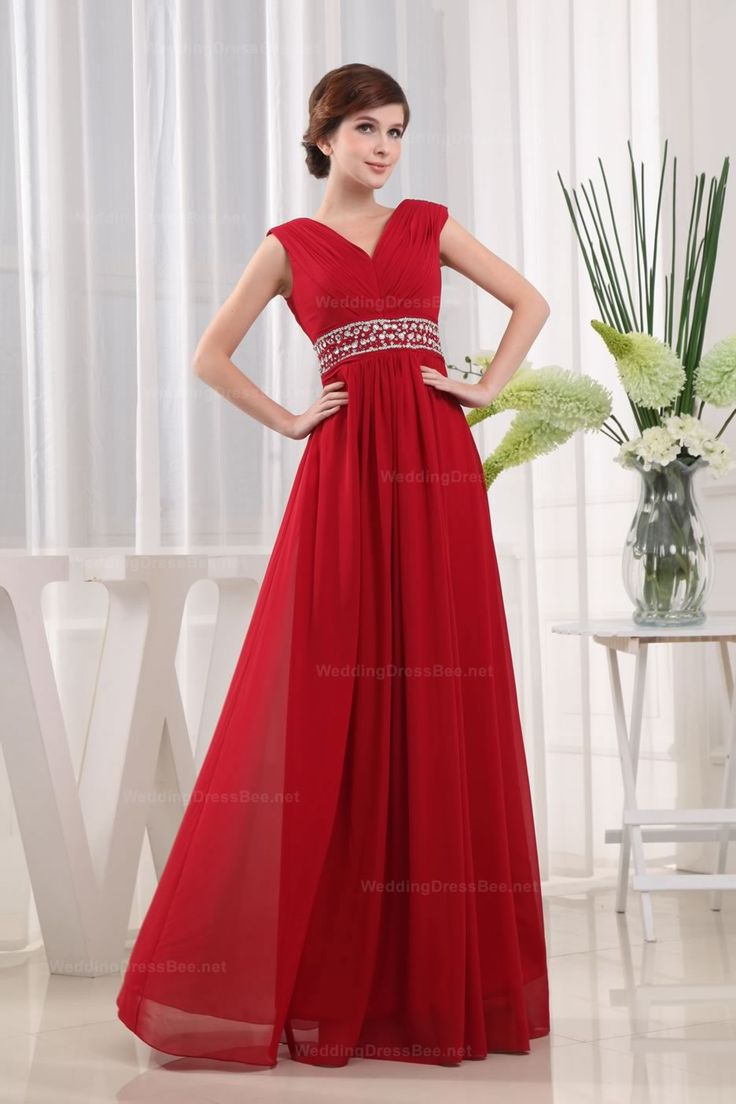 V-Neck Beaded Waist Chiffon Slim A-Line Evening Dress