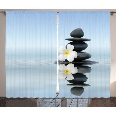 East Urban Home Spa Zen Massage Hot Stones with Asian Frangipani Plumera Reflection on Water Graphic Print & Text Semi-Sheer Rod Pocket Curtain Pan...