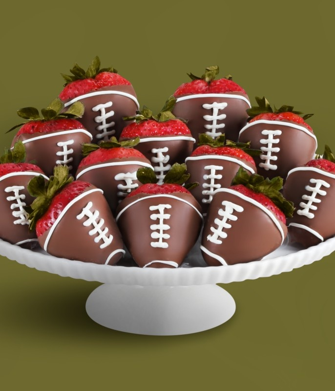 Chocolate covered strawberry footballs?! Kevin would love this!!!