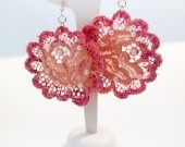 Handmade earrings with hand painted lace! Sicily jewels by FrancescaC.