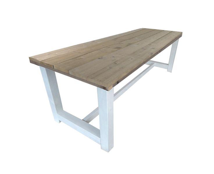 kloostertafel steigerhout met wit onderstel 180 cm