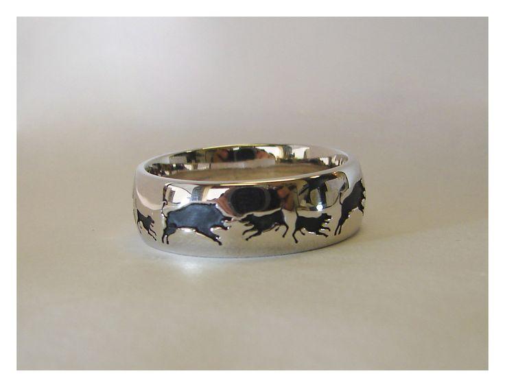 "Unique | Besco Custom Jewelers Fourteen karat ""Hog Dog"" wedding band"