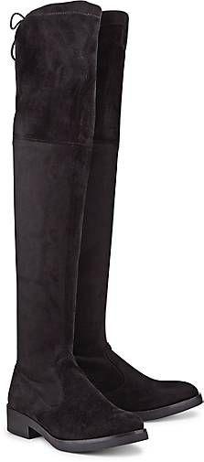 Der schlichte Overknee-Stiefel von Buffalo aus schwarzem Textil wirkt trotz flachem Absatz besonders grazil und elegant. Ein Zugband am Schaft gibt extra Halt!