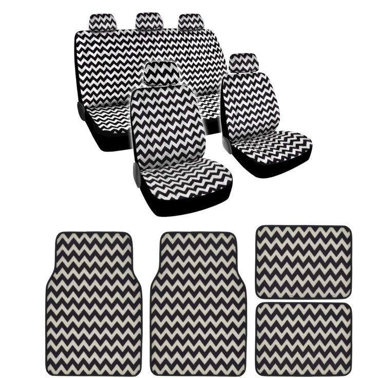 BDK Full Set Chevron Car Seat Covers and Floor Mats (Grey)