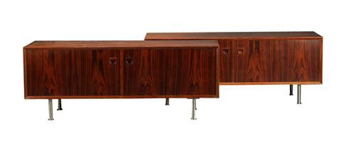 Low Rosewood Sideboards produced by Brouer furniture factory, 1960s