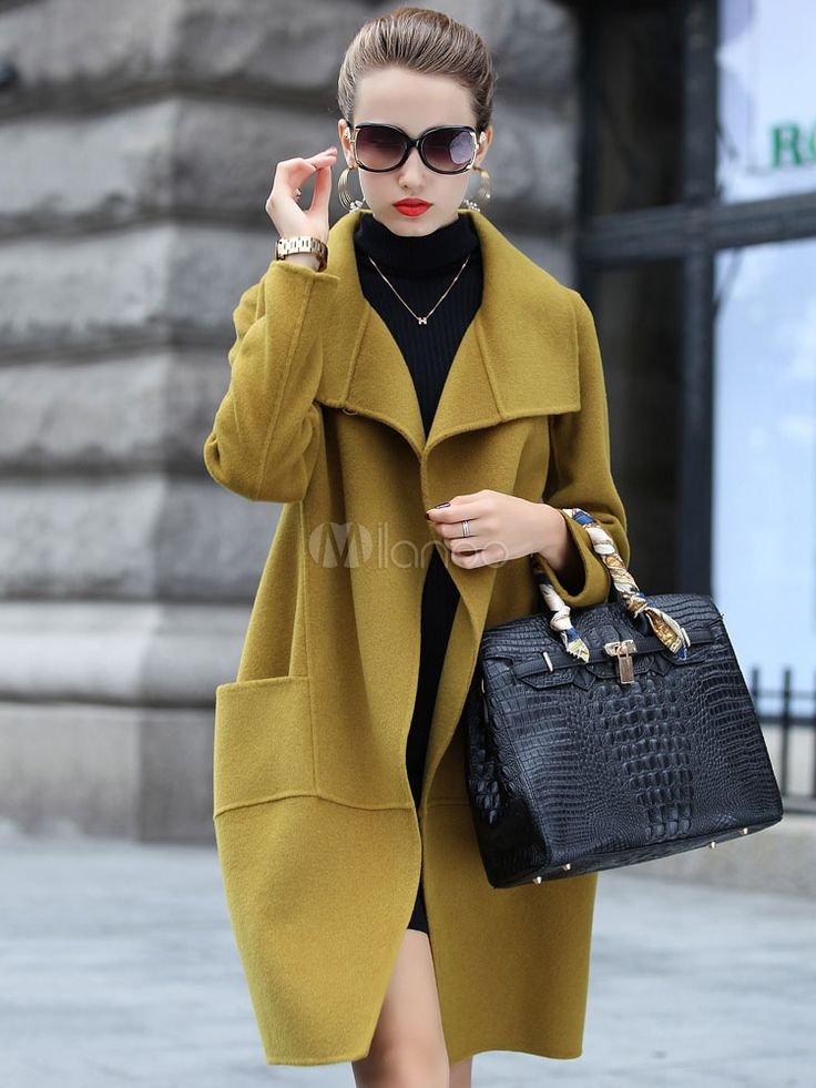 Woman's Long Sleeve Pockets Wool Coat