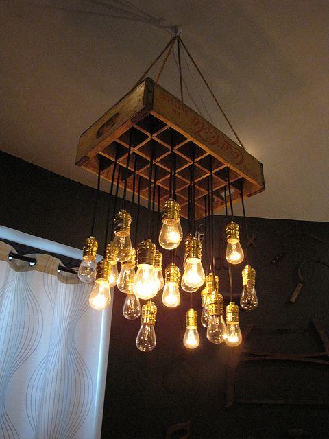 soda crate chandelier