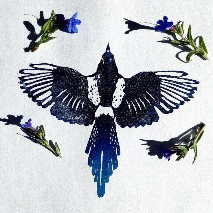 Magpie tattoo idea, lovely illustration of a bird flying.