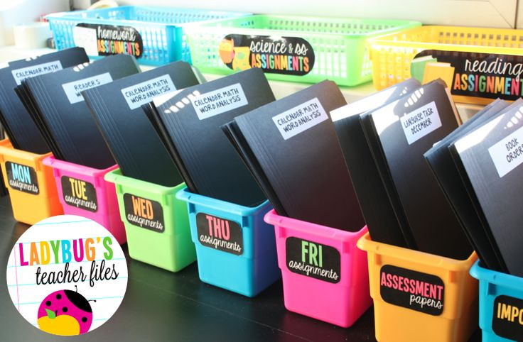 Ladybug's Teacher Files: Organizing Files for the Week (& keeping my table clean!)