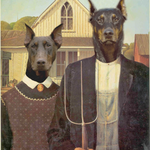 American Dobermans - Anthropomorphic digital dog art