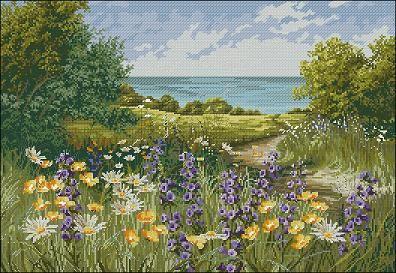 "Cross-stitch design "" Clifftop Footpath by Mary Dipnall "" | Cross-Stitch Club"