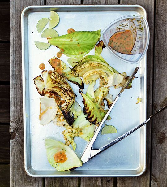Grilled Cabbage Wedges with Spicy Lime dressing...Always looking for grilled or roasted veggie dishes...They taste so much better.