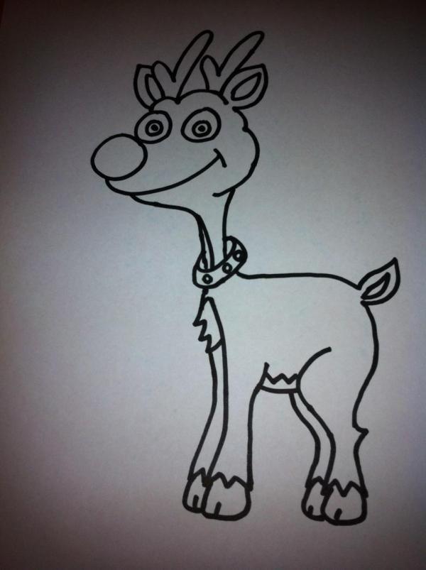 Cómo dibujar un reno de dibujo animado - 14 pasos