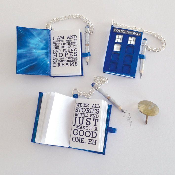 Miniature Book - Dr Who inspired diary with quotes and sonic screwdriver working pencil by MichellesMiniatures on Etsy