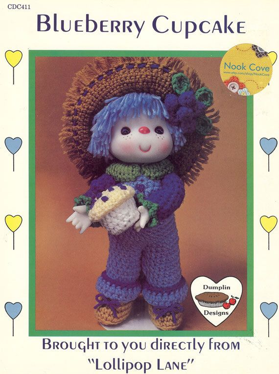 """Vintage Dumplin Designs Blueberry Cupcake Crocheted Doll by Lollipop Lane is a cute crochet pattern that will make you smile! . The two-page leaflet will give complete, simple instructions for you to crochet this doll for your daughter or granddaughter. You will need a 4 or 4-1/2"""" doll head with white yarn hair (hands come with head), 4 ply yarn, polyester fiberfill, a Size H crochet hook, and yarn needle by NookCove, $9.73"""