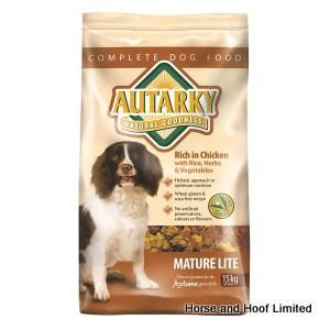Autarky Chicken Mature Lite Dog Food 2 5kg Autarky Mature Lite Chicken Dog Food provides dogs with all of the nutrients that they need in a lower calorie package.
