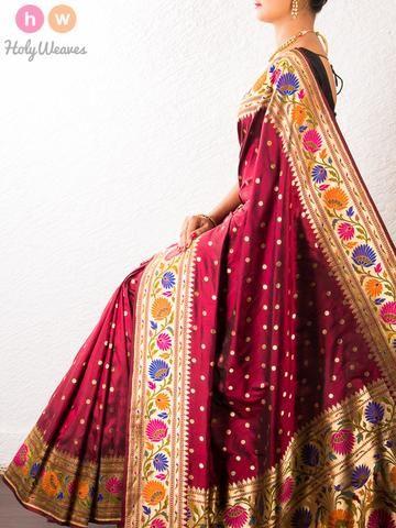 Maroon Handwoven Katan Silk Paithani Saree