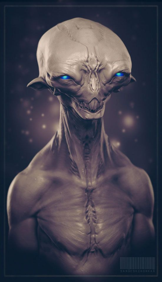 alien bust 1, Sandesh Chonkar on ArtStation at http://www.artstation.com/artwork/alien-bust-1