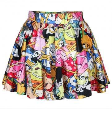 Falda Hora de Aventuras, personajes Colorida falda con un toque sexy inspirada en la serie animada Hora de Aventuras.