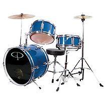 GP Percussion Complete 3-Piece Junior Drum Set - Metallic Royal Blue