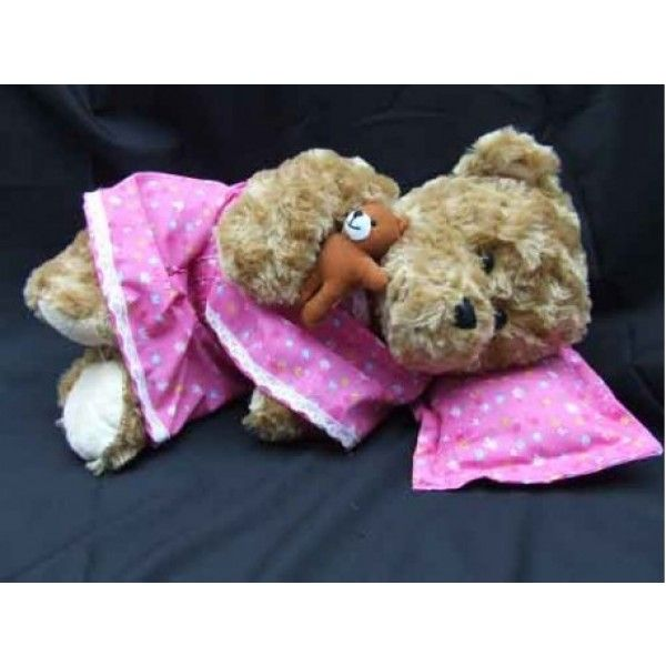 Pink Saree Bedtime Bear - Asian. Comes with a soft brown bear, a pink floral saree PJ, a pink floral large pillow and a small brown bear which can also be worn around childs wrist. Also comes with bear certificate.