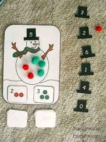 Snowman addition activity with the sum on the hat.  So cute!