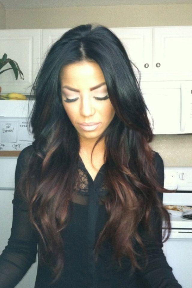 CHOCOLATE LATTE brunette black base ombre / hair dye/ hi lights/ boho hippie hair/ clip-in hair wefts/ Full SET human hair extensions. $150.00, via Etsy.