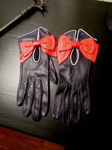 Vintage Hermes Leather Gloves Red Leather Bows | eBay