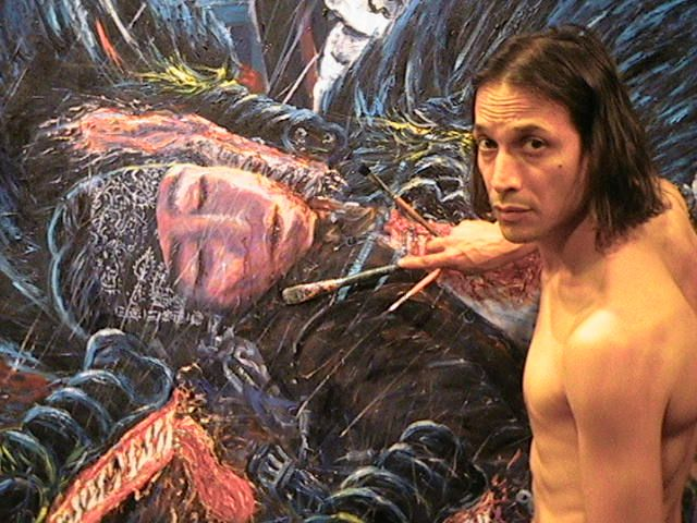 "Cruzito, actor Jesse Borrego, with Adan Hernandez's ""Death of Juanito"" from the film Blood In Blood Out"