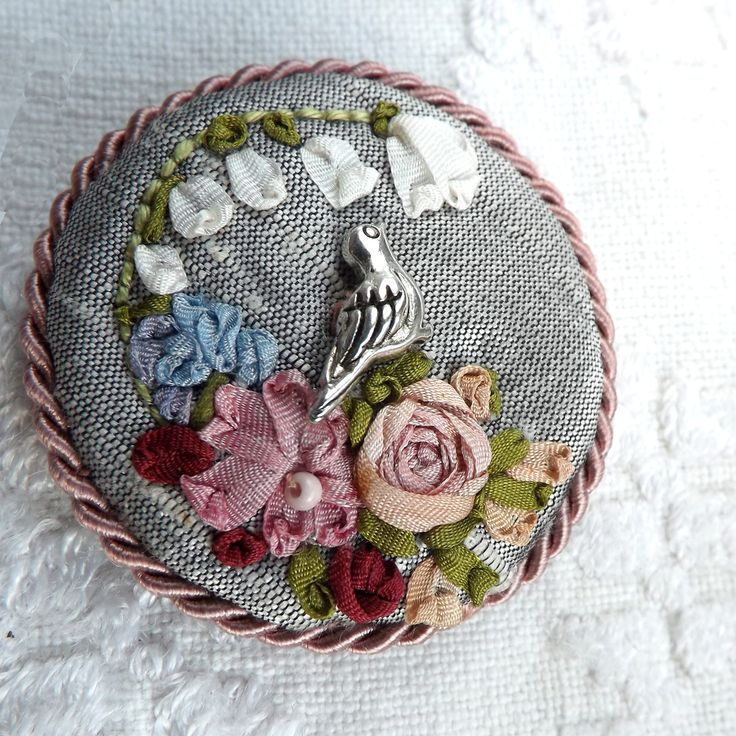 spring brooch with silk ribbon embroidery