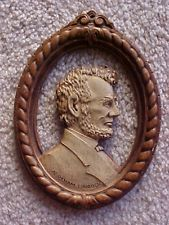 "Vintage Syroco Wood Wall Hanging, image of Abraham Lincoln, 6"" high, Very Nice!"