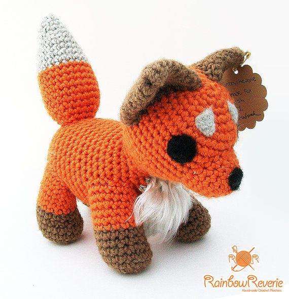 Handmade Poseable Cute Fox Plush Amigurumi Crochet Stuffed ...