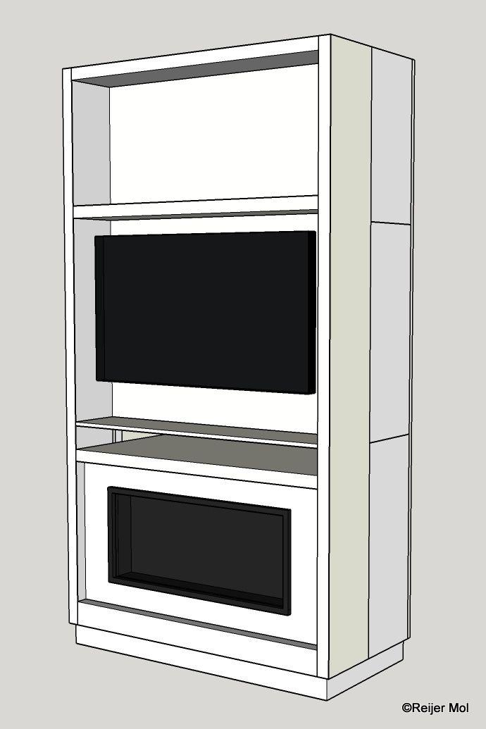 Ontwerp van TV/PC kast van MDF met in voorste gedeelte ruimte voor TV en gelhaard met daarachter ruimte voor PC en monitoren. Deze kast is ook gerealiseerd. Afmetingen: 2430 * 1300 * 610 mm. Materiaal: MDF gelakt.