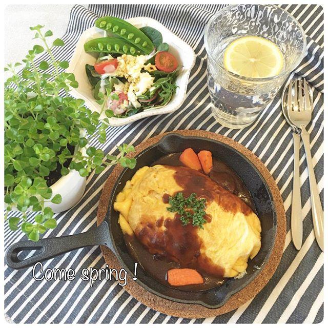 kumi.ookenta 雪降る朝で3月スタート . わが家のニトスキ…麻婆豆腐、餃子、八宝菜、エビチリ…きっと自分の事を中華鍋だと思っているかも . なので、今日は可愛く残りもののビーフシチューものせてオムライス . この大きさのスキレットでオムライスをちまちま作っていると、おままごとしてるみたい•*¨*•.¸¸♬ . . #オムライス #サラダ#ランチ #昼食#昼ごはん#ひとりごはん#お昼ごはん #ニトスキ#スキレット #おうちごはん#おうちカフェ#ワンプート . #lunch #brunch #omelet#food #yummy #foodpic #instafood  #foodstagram #oneplate #todayslunch #foodvsco